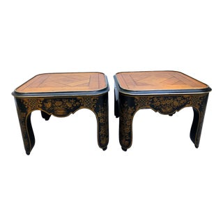 Mid-Century Baker Furniture Chinoiserie Accent Side Tables - a Pair For Sale