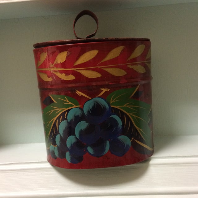 Antique Hand Painted Toleware Tea Caddy For Sale - Image 11 of 13