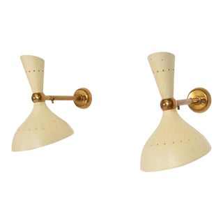 Mid-Century Modern Italian White Wall Sconces After Sarfati Stilnovo - a Pair For Sale