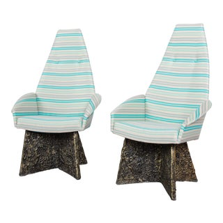 Adrian Pearsall Mid-Century Brutalist High Back Lounge Chairs, Pair For Sale