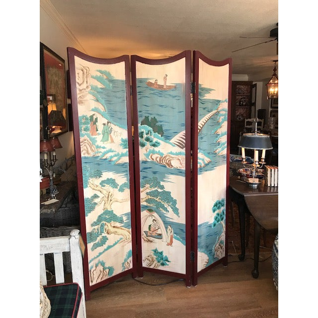 Unique 3 panel folding screen with Asian painted scene. Use as a divider or interesting room accent.