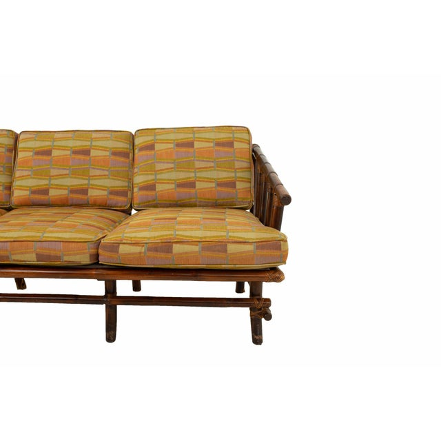 John Wisner for Ficks Reed Style Bamboo Mid Century 3-Seater Sofa For Sale In Chicago - Image 6 of 9