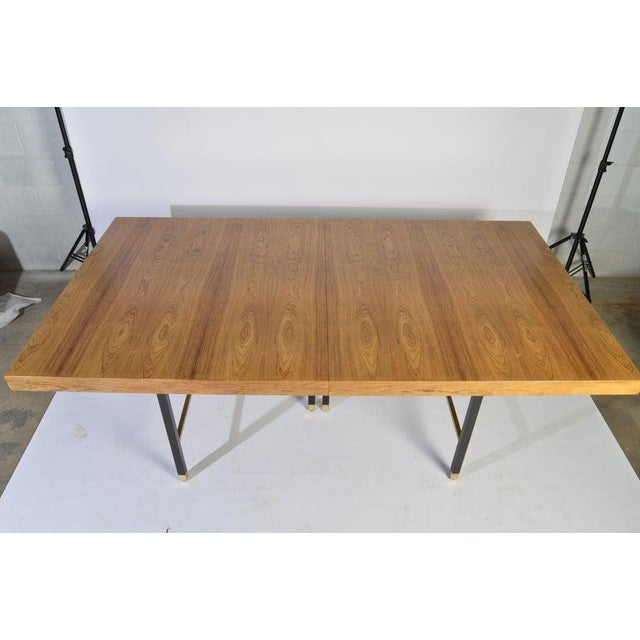 Harvey Probber Harvey Probber Rosewood and Mahogany Dining Table With Brass Accents For Sale - Image 4 of 8