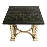 Image of Faux Malachite and Brass Game Table For Sale