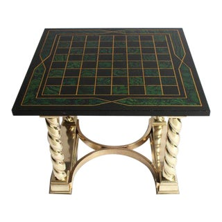 Faux Malachite and Brass Game Table For Sale