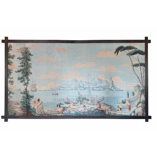 A Very Rare 19th Century French Landscape Panel From Lago DI Garda, Ca. 1880 Panoramic wallpaper panel, by Zuber. It has...