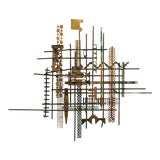 Image of William Bowie Mid-Century Brutalist Metal Wall Sculpture For Sale