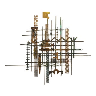 William Bowie Mid-Century Brutalist Metal Wall Sculpture For Sale
