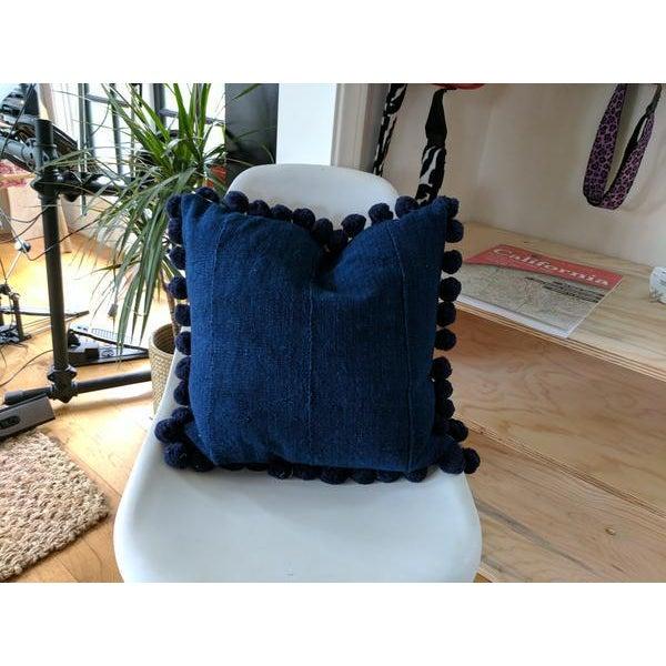 Solid Indigo Mudcloth Pom Poms Pillow - Image 2 of 6