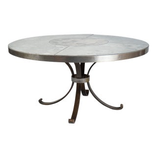 Wrought Iron French Center Table With Antiqued Mirror Top, 1970's For Sale
