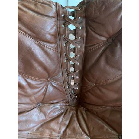 Mid Century Chrome and Leather Corset Tie Back Sling Chair For Sale In New York - Image 6 of 13