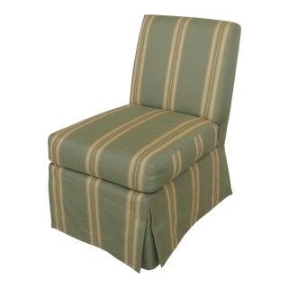 Vintage Green Striped Upholstered Slipper Boudoir Chair For Sale