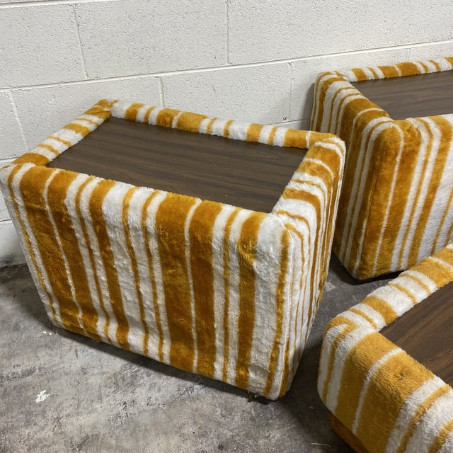 Mid-Century Modern Groovy 70s Carpeted Tables Bench Set - a Set of 3 For Sale - Image 3 of 12