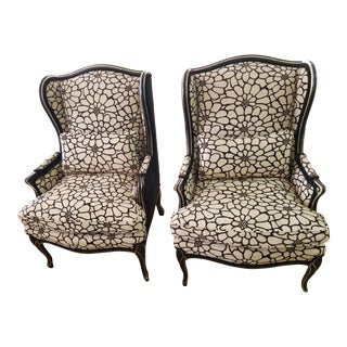 Reupholstered Wingback Chairs - a Pair For Sale