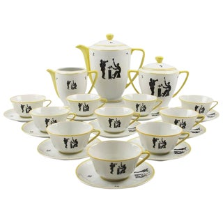 Limoges France Hand-Painted Porcelain Tea, Coffee Service Set Jazz Band Design For Sale