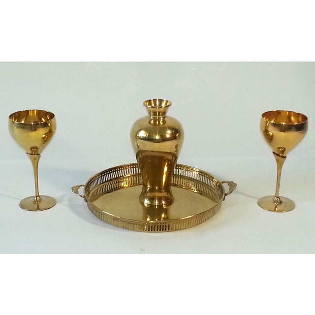 Mid-Century Brass Goblets, Vase & Tray - Set of 4 For Sale - Image 5 of 11