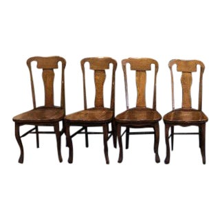 Vintage Solid Oak Dining Chairs- Set of 4 For Sale