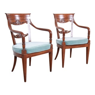 Baker Furniture French Carved Walnut Lounge Chairs, Pair For Sale