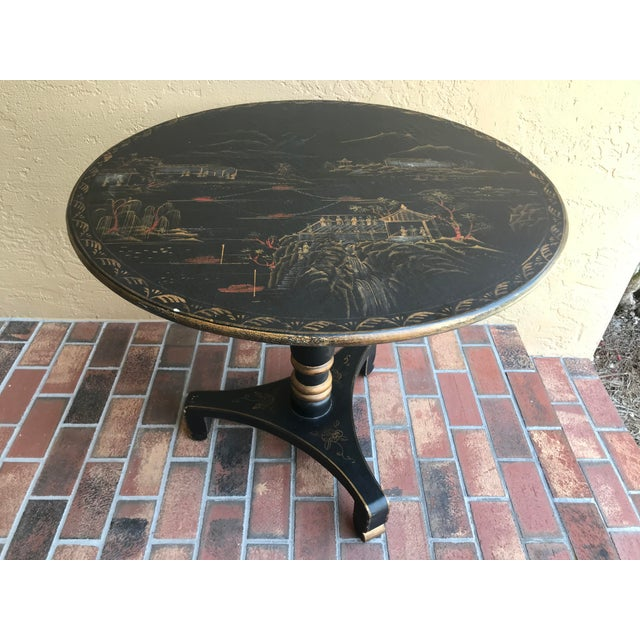 1990s Chinoiserie Painted Round Game Center Table For Sale - Image 11 of 13