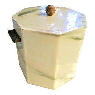 Vintage Faux Jade Acrylic Hexagon Ice Bucket For Sale