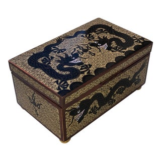 Early 20th Century Antique Chinese Cloisonné Dragon Motif Box For Sale