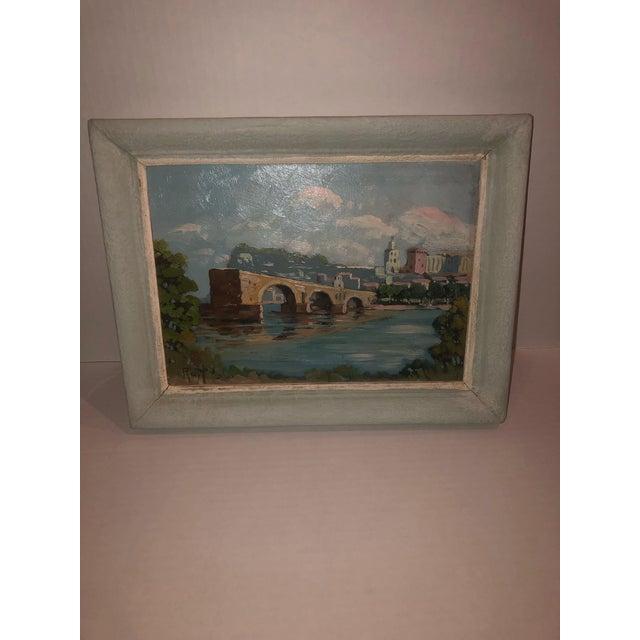 French antique painting of the Avignon Bridge on panel. Circa 1900.