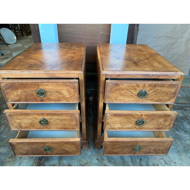 Brown 1960s Mid-Century Modern Burl Wood American of Martinsville - a Pair For Sale - Image 8 of 11