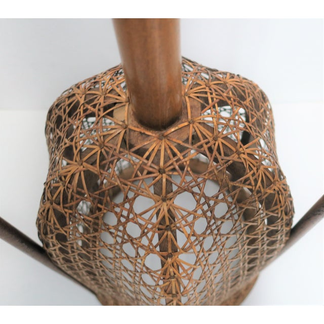 Brown Vintage Wicker Cane Plant Stand For Sale - Image 8 of 13