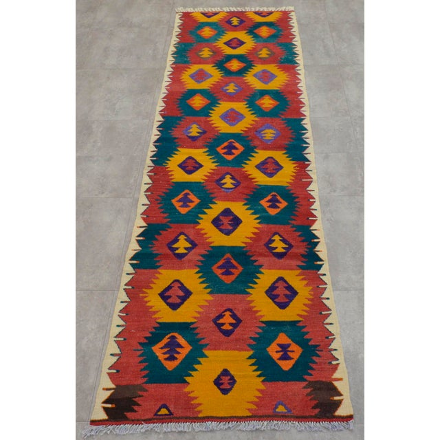 "Turkish Hand Woven Wool Nomad Runner Rug - 2'6"" X 9'1"" - Image 3 of 8"