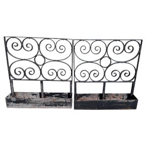 Large Antique Wrought Iron Wall Planters Vintage Scrolled Wrought Iron Industrial Garden Wall Planters For Sale