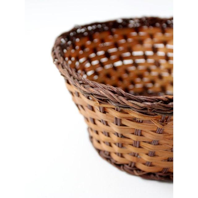 Vintage Woven Basket Bowl For Sale - Image 4 of 7