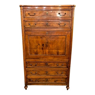 Late 18th C. Louis XVI Walnut Secretaire a Abattant