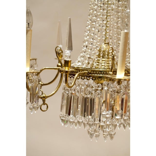 Brass and Crystal Gasolier For Sale - Image 9 of 13