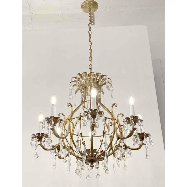 Florentine Style Crystal & Gilt Metal Chandelier For Sale In New York - Image 6 of 10