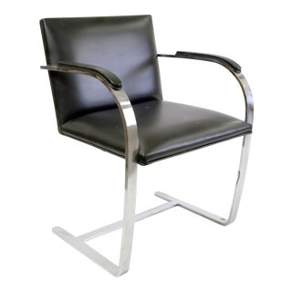 Mies Von Der Rohe Black Leather & Chrome Brno Chair