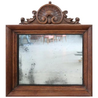 19th Century Italian Carved Oak Wood Wall Mirror For Sale