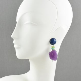 Angela Caputi Blue and Lavender Dangling Resin Clip on Earrings Preview