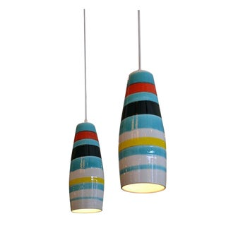 Pair of Striped Ceramic Pendants by Raymor, Italy, 1950s For Sale