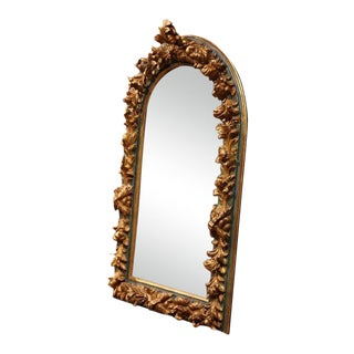 Large Mid-19th Century Spanish Baroque Carved Polychrome Gilt Mirror For Sale
