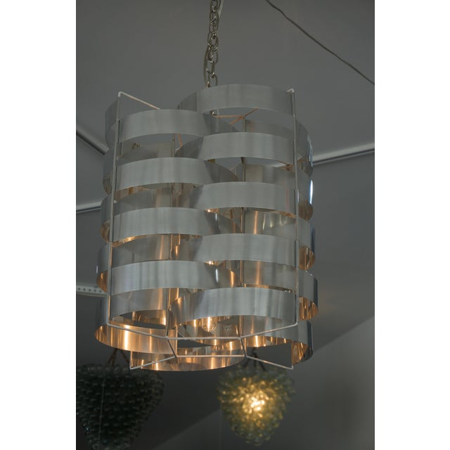 Mid-Century Modern 1970s Max Sauze Aluminium Chandelier For Sale - Image 3 of 8