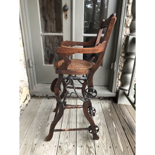 Antique high chair that converts to stroller, over 100 years old, with cane  seat - Antique Victorian Baby High Chair / Stroller Chairish