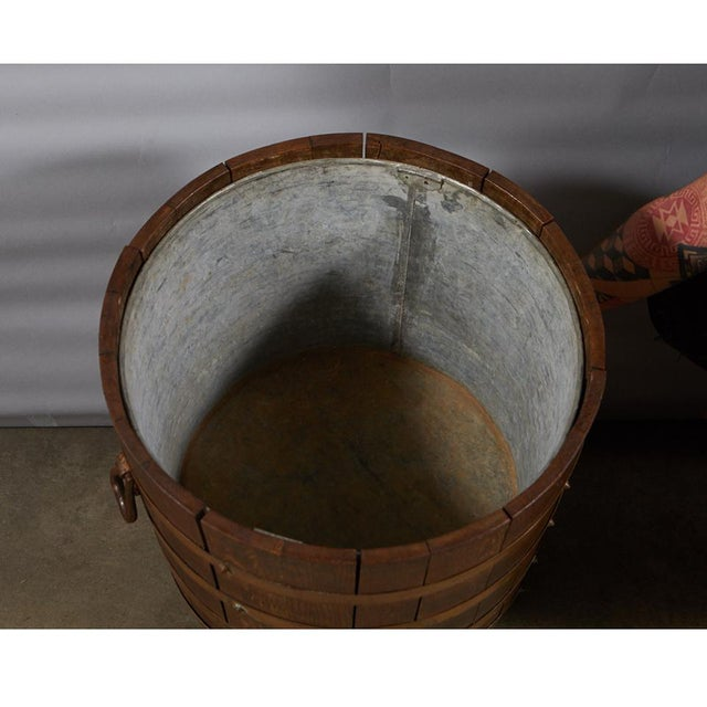 English R. A. Lister & Co. Ltd. Oak Bucket With Liner For Sale - Image 3 of 10
