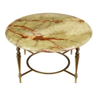 Regency Onyx Top & Brass Cocktail Table