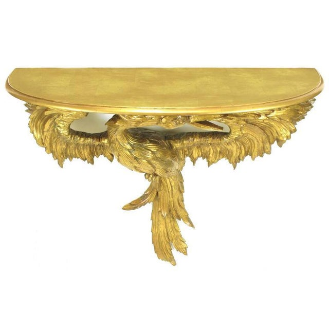 Early 20th Century Italian Giltwood Phoenix Wall Mounted Console and Mirror For Sale - Image 4 of 11