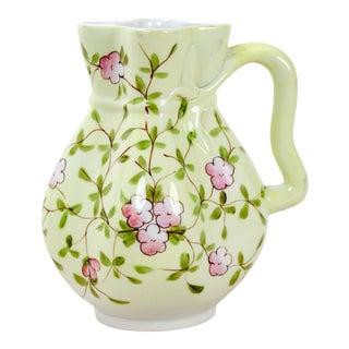 Vintage Light Green Glazed Porcelain Jug For Sale