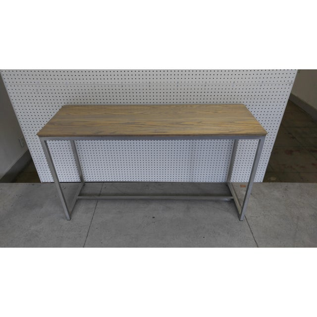 Oak Wood Top & Metal Base Console For Sale In Los Angeles - Image 6 of 7