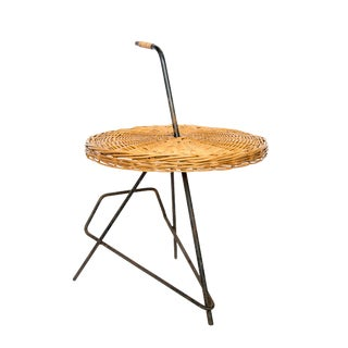 Mid-Century French Rattan Side Table For Sale