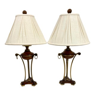 Vintage Uttermost Neoclassical Antique Brass & Wood Table Lamps - a Pair For Sale