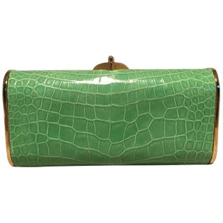 Judith Leiber Vintage Mini Green Alligator Clutch Minaudiere For Sale