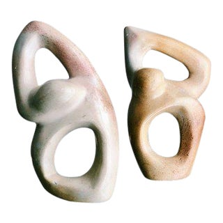 Vintage Mid-Century Modern Art Deco Abstract Neutral Soapstone Figurines - a Pair For Sale